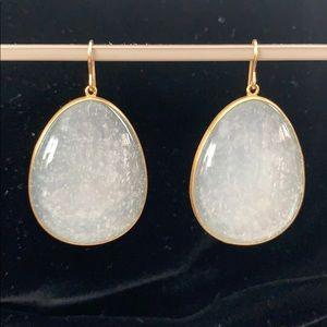 "Maria Beaulieu Giant ""Snow"" Moonstone Earrings 18k"